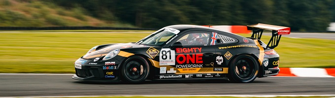 Matty Graham in the Eighty-One Powerdrink backed Redline Racing Porsche Carrera Cup car
